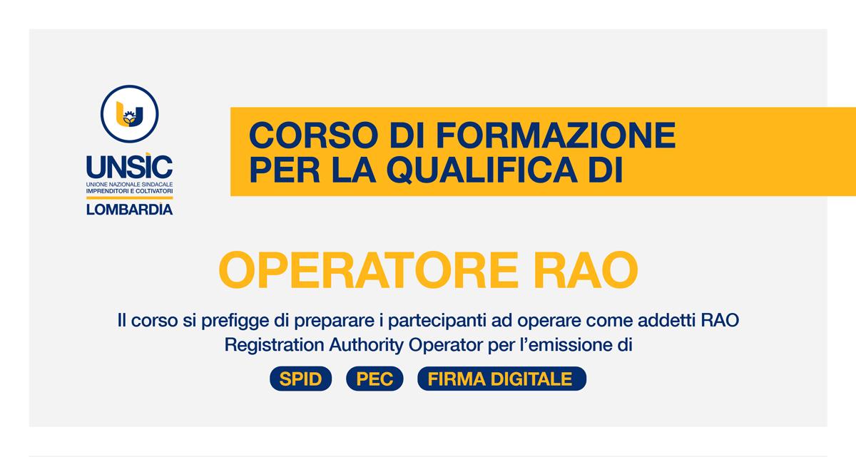 Corso OPERATORE RAO 2020